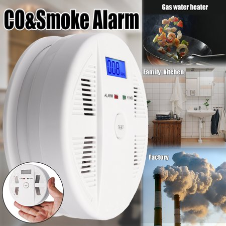2 IN 1 Carbon Monoxide Detector & Smoke Detector Alarm Sound Combo Sensor Battery Operated LED Light Suitable for House Shop Office Safety