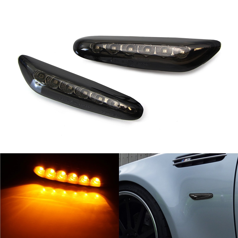 iJDMTOY (2) Smoked Lens Front Side Marker Lamps with 6 Amber LED Lights For BMW E82 E90 E92 E93 E60 E61 1 3 5 Series, etc