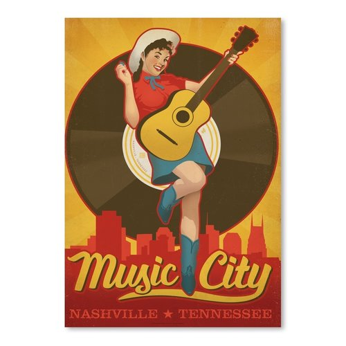 East Urban Home Pin-up Music City Vintage Advertisement