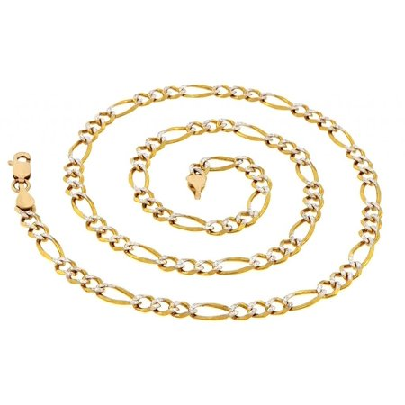 - Jewelers 14K Solid Gold Pave Diamond-cut Figaro 24 inch Chain Necklace BOXED