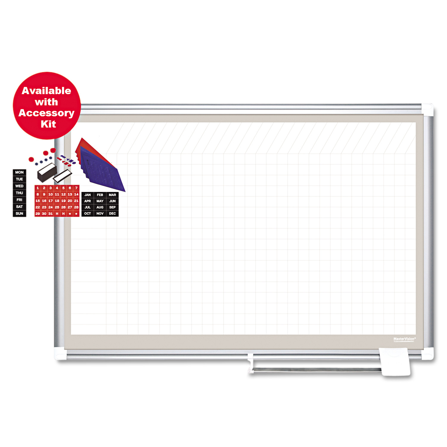 MasterVision All Purpose Porcelain Dry Erase Planning Board, 1x2 Grid, 48x36, Aluminum Frame by BI-SILQUE VISUAL COMMUNICATION PRODUCTS INC