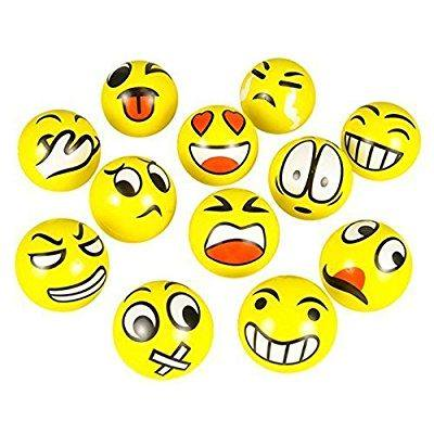 FUN Emoji Face Squeeze Balls- 12 ~ 3'' Stress Relax Emotional Toy Balls ~ Fun Office Holiday Gift ~ Stocking Stuffer ~ Gag - Unicorn Stress Ball