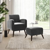 Homesvale Suzie Velvet Arm Chair and Ottoman