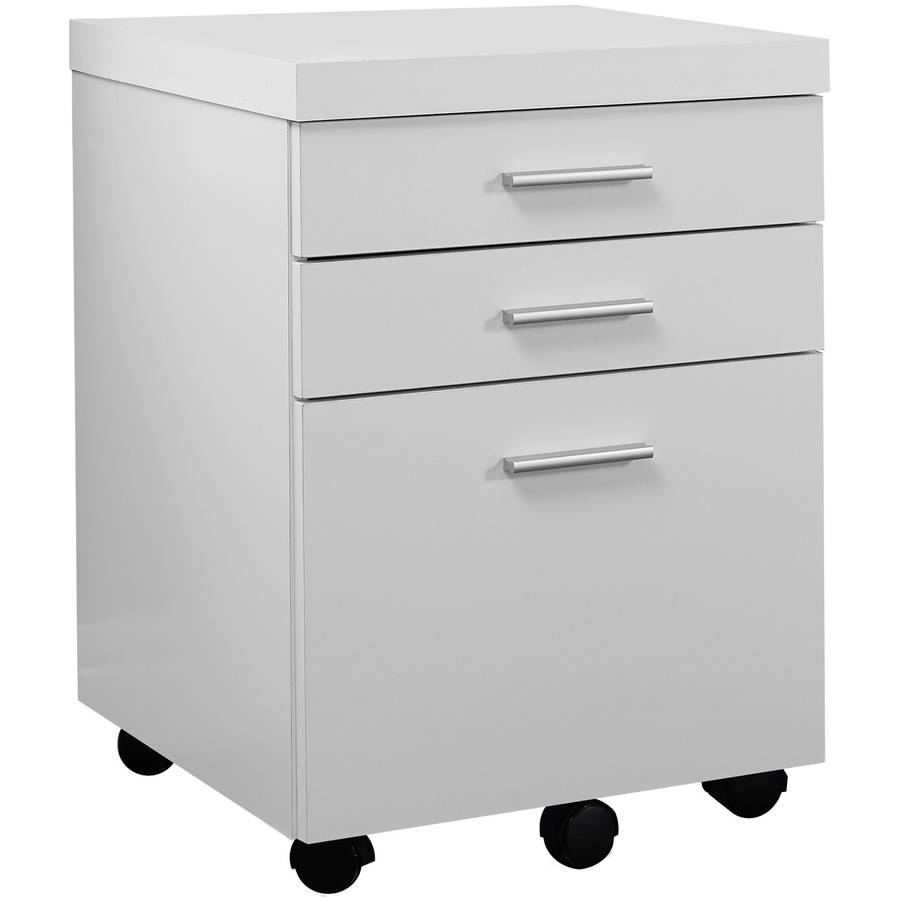 Monarch Filing Cabinet 3 Drawer / White On Castors - Walmart.com