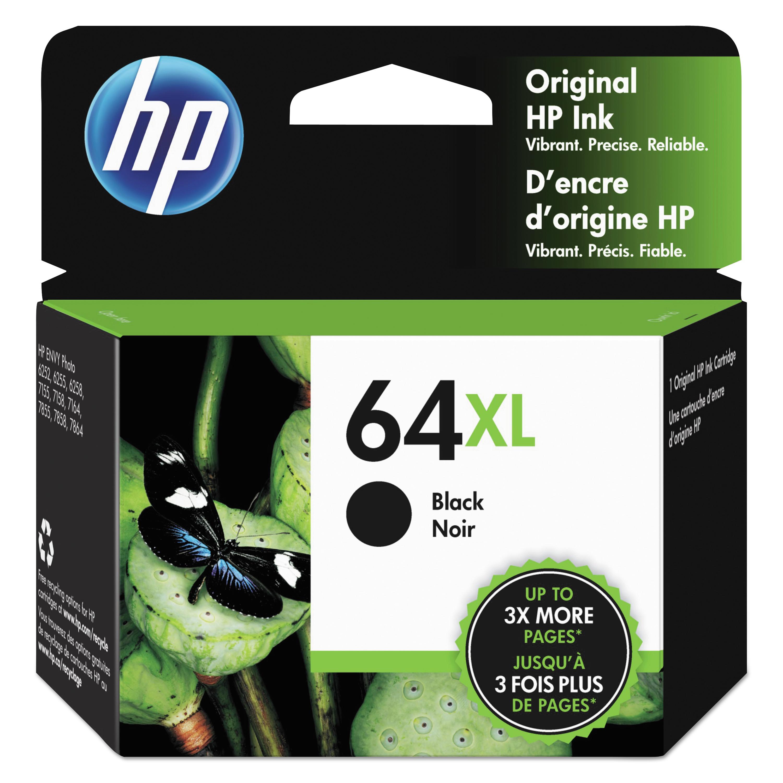 HP 64XL Black High Yield Original Ink Cartridge, 600 Page-Yield