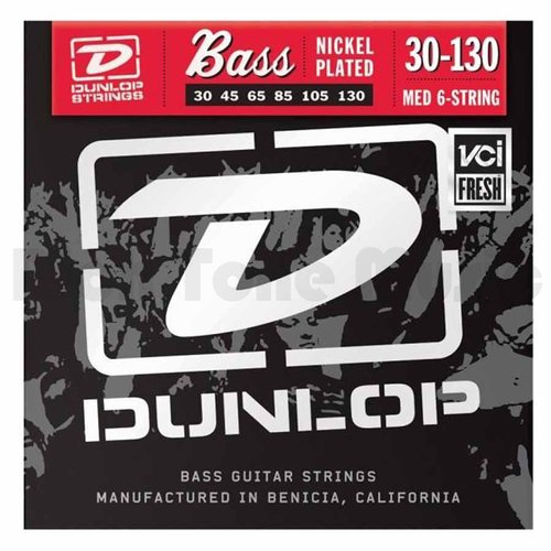 Dunlop DBS30130 Medium Stainless Steel Bass Guitar 6 String Set, .030-.130 by Dunlop