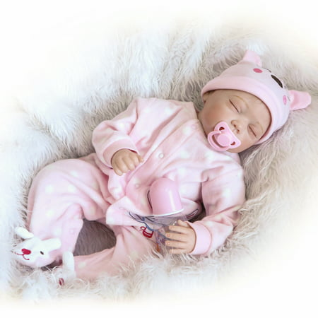 Girls With Toys (22inch 55cm Reborn Baby Doll Girl PP filling Silicon With Clothes Lifelike Cute Gifts Toy Pink Rabbit)