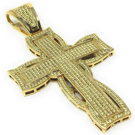 Canary Holy Cross Pendant 14K Yellow Gold Finish Simulated Diamonds Jesus Charm Big 3.25 Inch