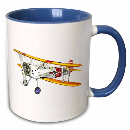 - 3dRose White and Red and Yellow Military Training Biplane - Two Tone Blue Mug, 11-ounce