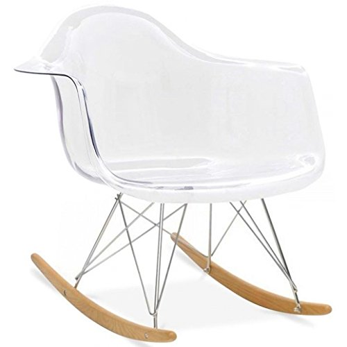 2xhome Clear Eames Style Molded Modern Plastic Armchair � Contemporary Accent Retro Rocker Chrome Steel Eiffel Base Ash... by 2xhome