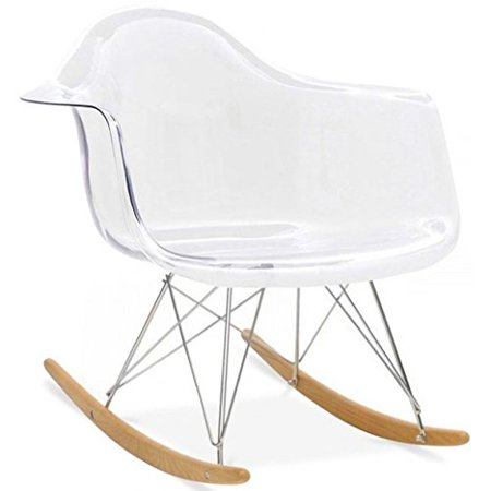 Astonishing 2Xhome Clear Eames Style Molded Modern Plastic Armchair Contemporary Accent Retro Rocker Chrome Steel Eiffel Base Ash Wood Rockers Rocking Forskolin Free Trial Chair Design Images Forskolin Free Trialorg