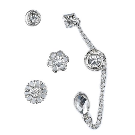 Silver Tone Flower, Rhinestone & Crystal Drop Chain Link- Assorted Stud Earrings (6 Piece) Set, By JADA Collections
