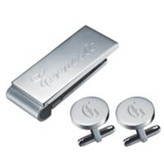 Visol VSET76 Carmill Stainless Steel Engravable Money Clip and Cufflinks Gift Set