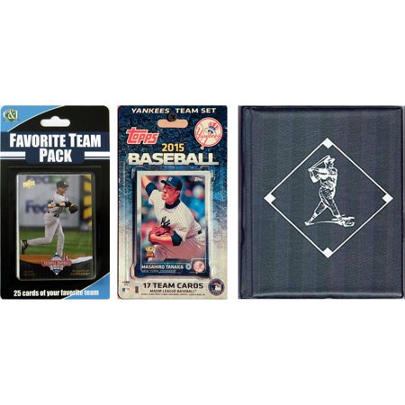 C&I Collectables MLB New York Yankees Licensed 2015 Topps Team Set and Favorite Player Trading Cards Plus Storage Album