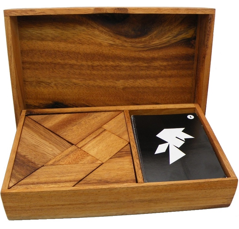 Logic Tangram Set with Play Cards Wooden Puzzle Game by