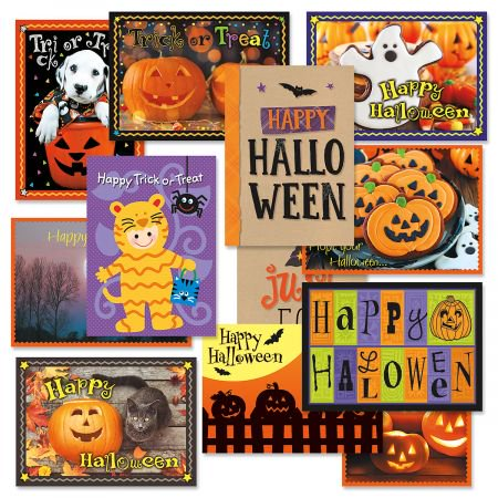 Halloween Greeting Cards Value Pack- Set of 12 Halloween Greeting Cards