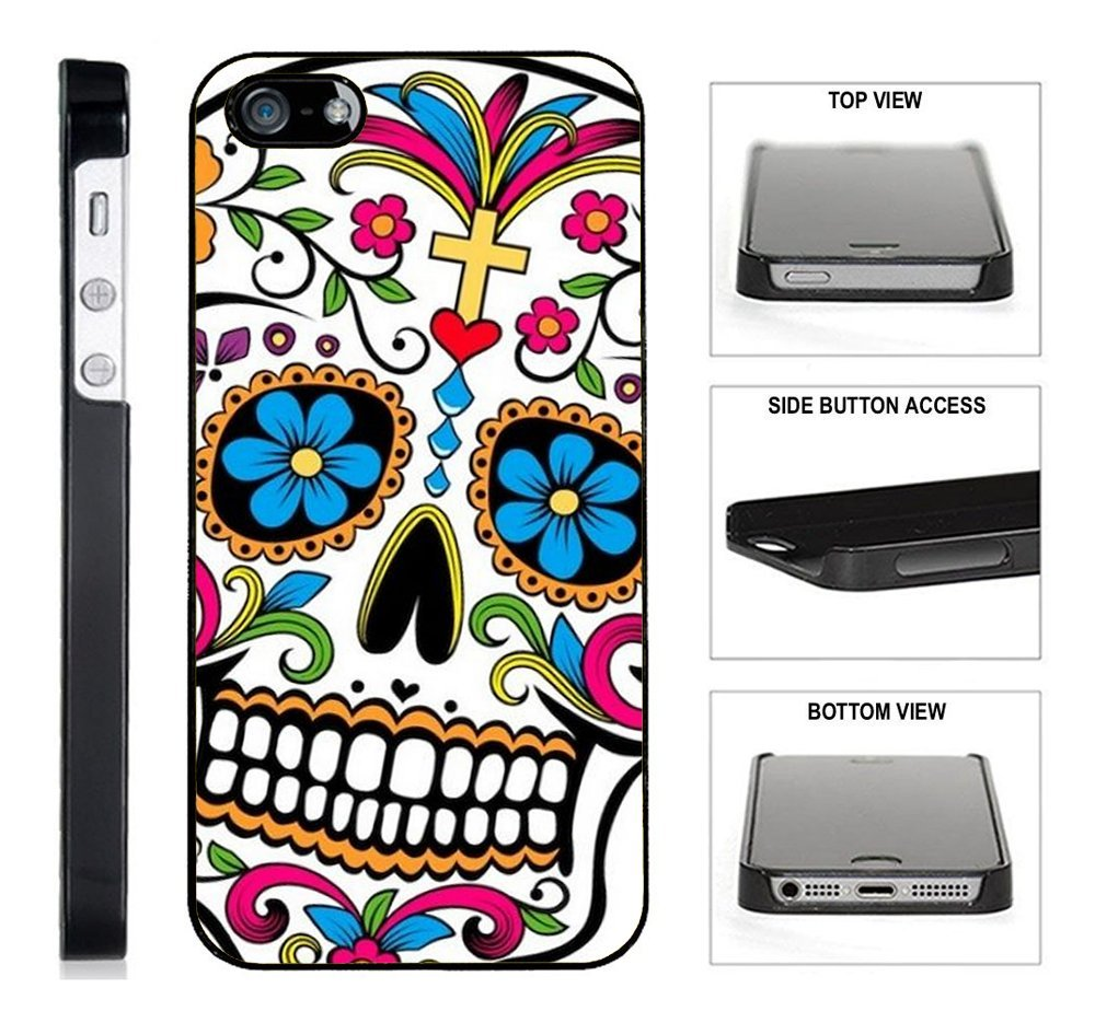 [] - Sugar-Skull-Dia-De-los-Muertos - iPhone 4 / 4S Black Plastic Case - Ultra Durable Slim & HARD PLASTIC Protective Vibrant Snap On Designer Back Case / Cover for Girls. [iPhone 4 / 4S]