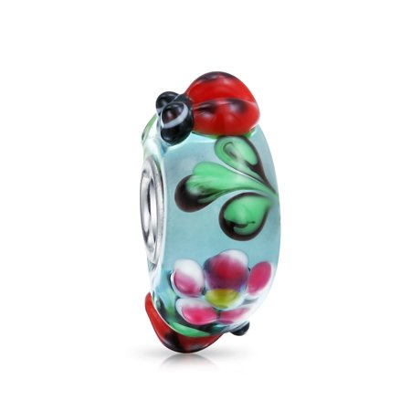 Ladybug Insect Flower Lampwork Murano Glass 925 Sterling Silver Core Spacer Bead Fits European Charm Bracelet For (Sterling Silver Flower Bead)