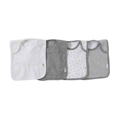 Burt's Bees Baby® Organic Cotton 4pk Lap Shoulder Bibs - Heather Gray One Size