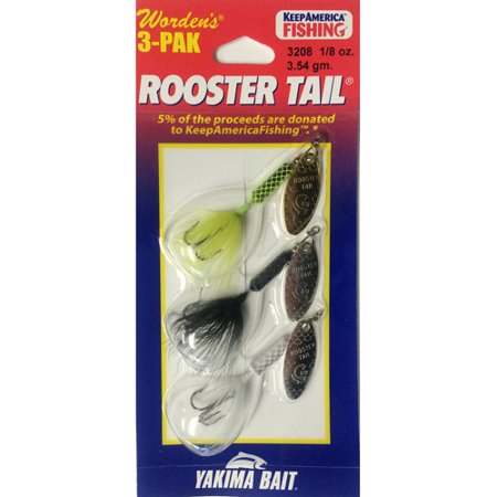 Rooster Tail Spinners, 3pk, Assortment S097