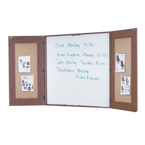 OSP Furniture Napa Presentation Wall Mounted Enclosed Whiteboard, 4' H x 4' W