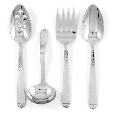 Stainless Hammered Finish (Ginkgo Oakleaf Stainless Hammered Finish Flatware Hostess Set - Set of 4)