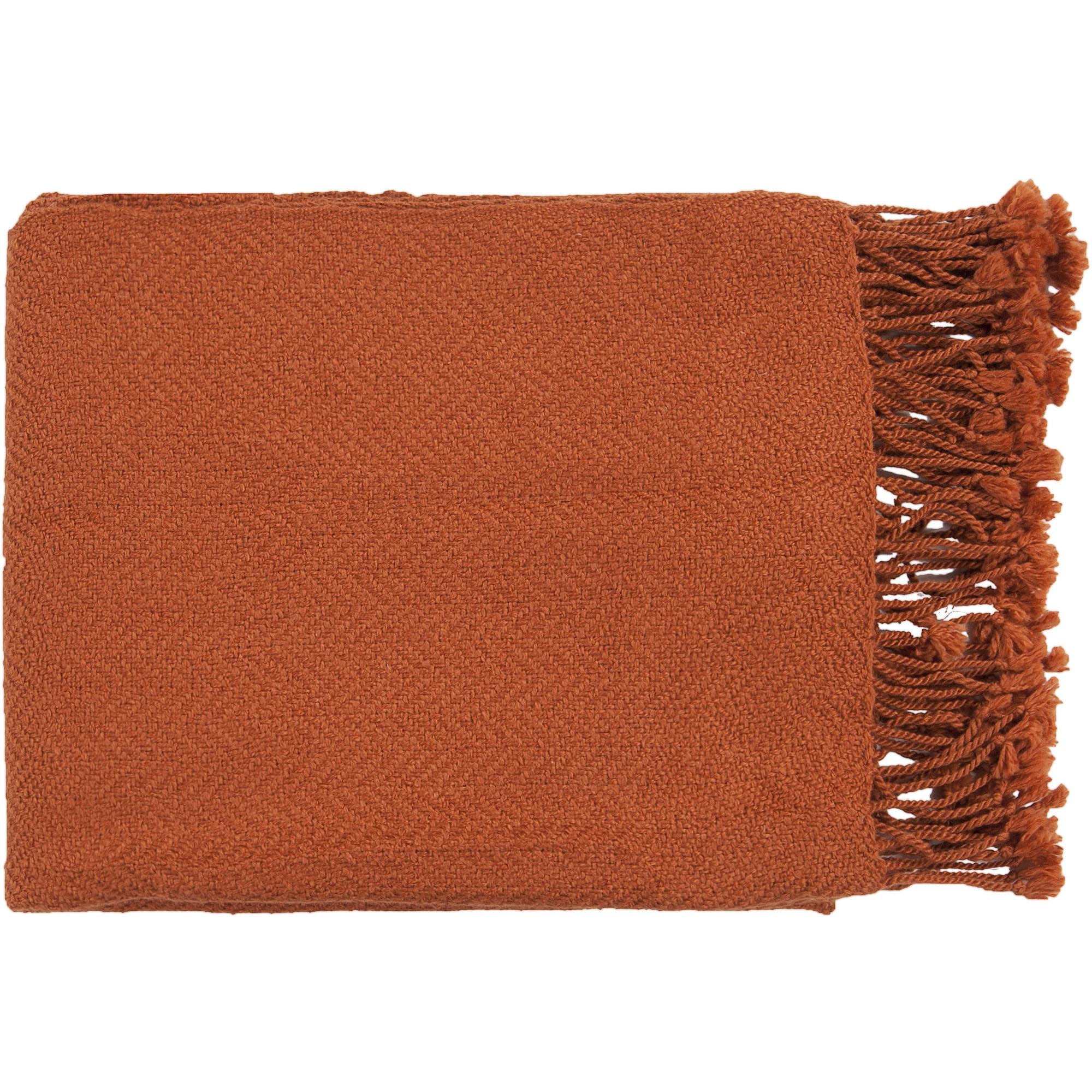 Libby Langdon Jamison Handmade Solid Herringbone Texture Decorative Throw, Rust