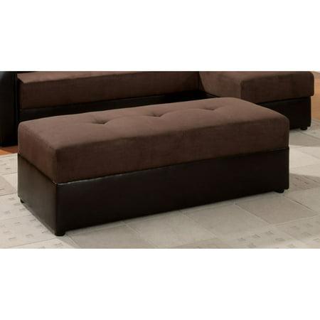 Acme Furniture Lakeland Chocolate Microfiber and Espresso PU Ottoman