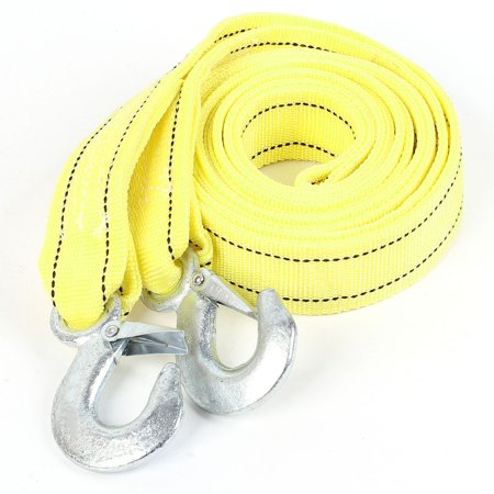 Unique Bargains Forged Metal Hook Emergency 3 Ton Silver Tone Yellow Car Tow Strap 3.5 Meters