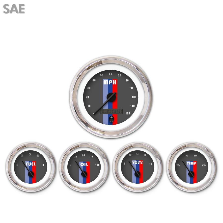 5 Gauge Set-SAE Vintage Autobahn Dark Gray Black Modern Needles Chrome Trim Rings Style Kit DIY Install
