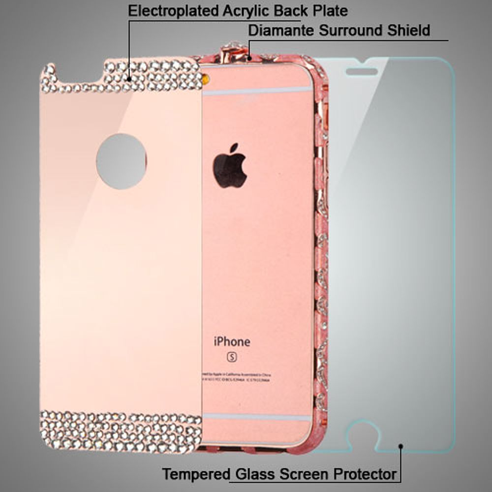 Insten 3-in-1 Surround Shield Hybrid Case for iPhone 6s / 6 (Rose Gold Acyrlic Hard Back Plate + Diamante Metal Bumper + Tempered Glass Screen Protector)