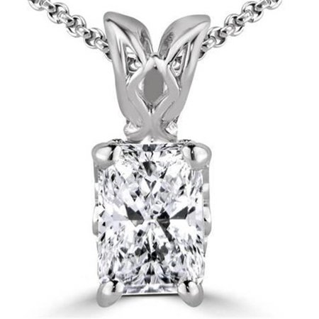 - Harry Chad Enterprises HC10188 1.50 CT 14K White Gold Radiant Cut G VS2 Diamond Pendant Necklace Prong Set