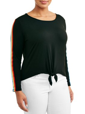 c90bbb4353464 Product Image Women s Plus Size Knotted Front Top with Sleeve Taping