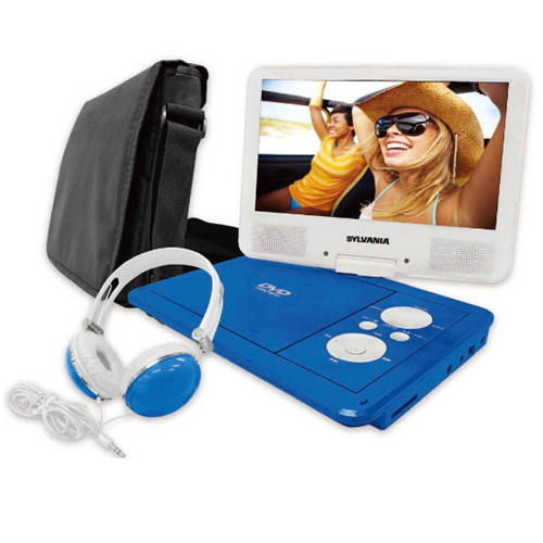 """Sylvania SDVD9060-COMBO-BLUE 9"""" Swivel Screen Portable DVD Player with Bag - Manufacturer Refurbished"""