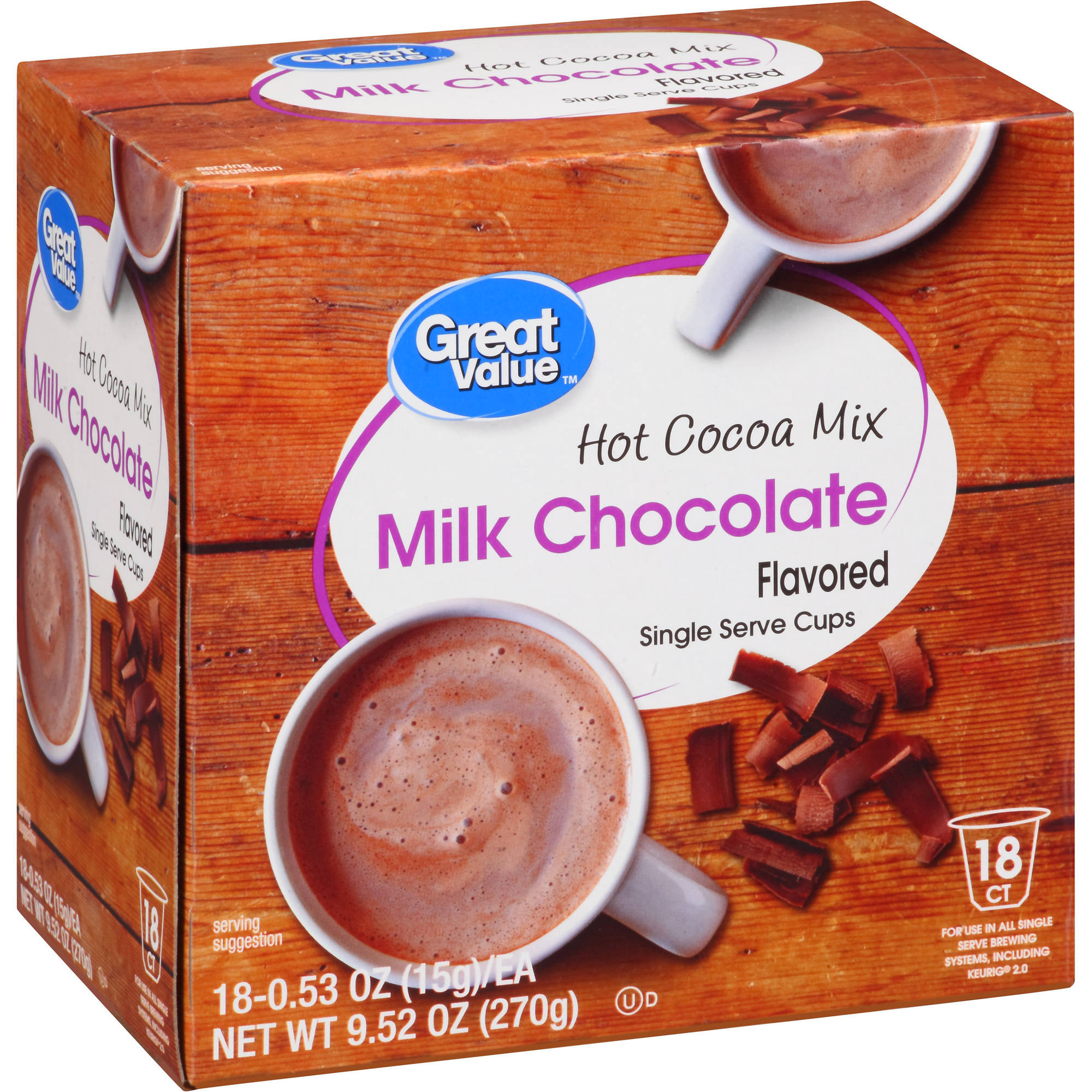 Great Value Milk Chocolate Hot Cocoa Mix Single Serve Cups, 18 Count by