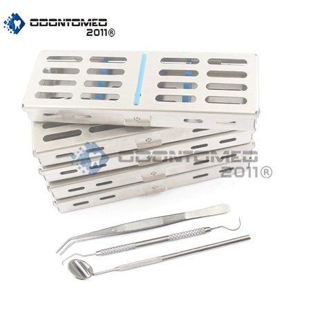 Odontomed2011® New Set Of 5 Each German Grade Dental Autoclave Sterilization Cassette Rack Box Tray For 5 Instruments+ 3 Piece Dental Set Free Odm (Instrument Sterilization Container)