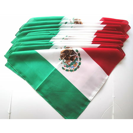 Lot Of 12 Cotton Mexican Flag Bandanas Party Favors