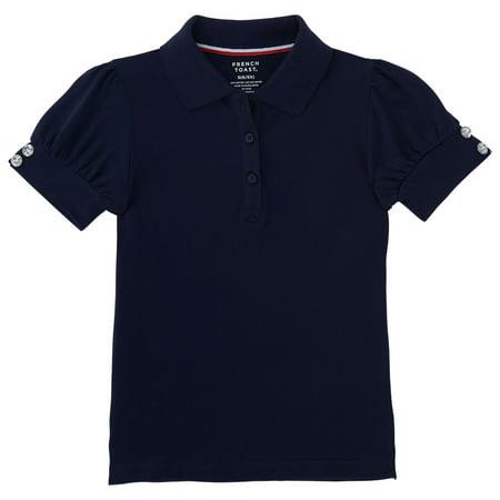 French Toast Girls School Uniform Short Sleeve Puff Sleeve Polo Shirt With Rhinestone Buttons, Sizes 4-16 & Plus One Button Short Sleeve Polo Shirt
