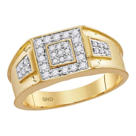14k Yellow Gold Mens Round Diamond Square Cluster Masculine Band Ring 1/2 (Masculine Blend)