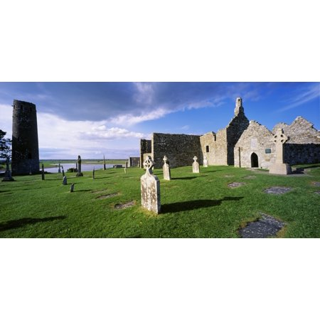 Cemetery In Front Of A Monastery Clonmacnoise County Offaly Republic Of Ireland Canvas Art   The Irish Image Collection  Design Pics  44 X 21
