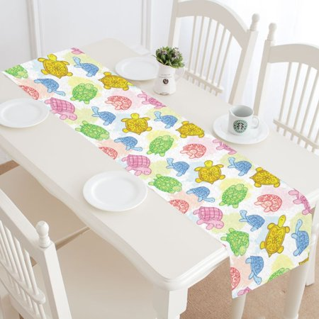 MYPOP Sea Turtle Colorful Table Runner Home Decor 16x72 Inch, Tortoise Table Cloth Runner for Wedding Party Banquet Decoration