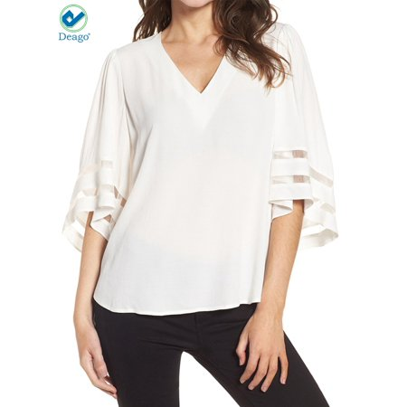 9cf481943 Deago Women's V Neck Mesh Panel Blouse Lace Patchwork 3/4 Bell Sleeve  Casual Loose Shirt Tops (White/S)