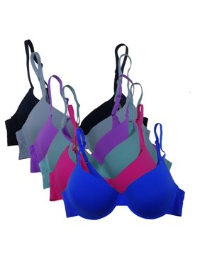5d723708f47f8 Product Image Women s 6-Pack Laser Cut Assorted Solid Colors Lace on Side  Bands Push Up Bras