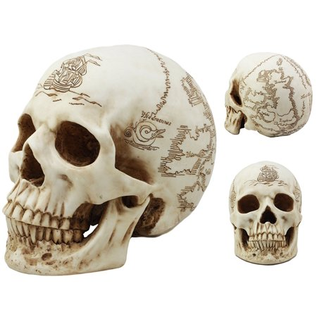 Ebros Paranormal Pirate Cartography Lost Treasure Map Skull Statue Sunken Uncharted Island Relic Skull Gothic Figurine Halloween Party Centerpiece