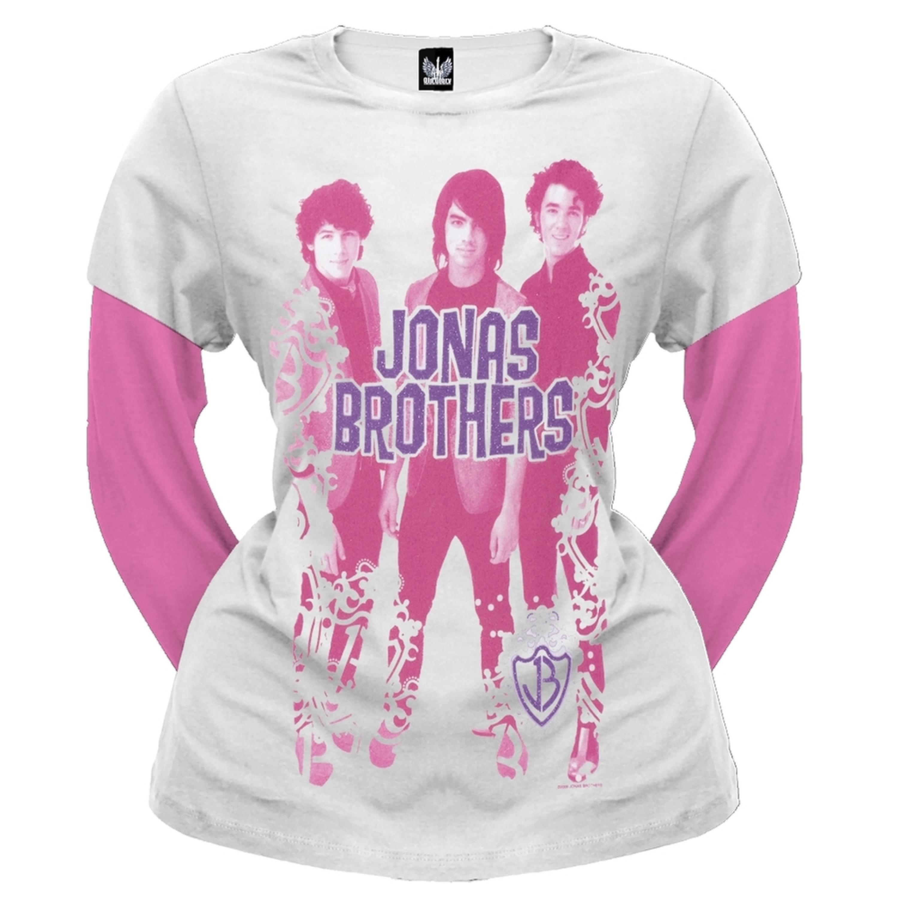 Jonas Brothers - Crest Border Girls Youth 2Fer Long Sleeve T-Shirt