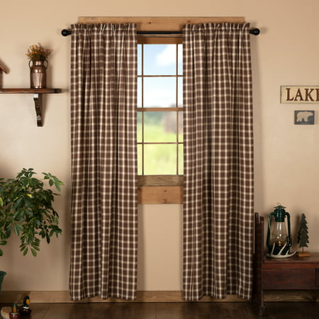 Chocolate Brown Rustic & Lodge Curtains Sheridan Rustic Brown Rod Pocket Cotton Tie Back(s) Plaid Panel Pair