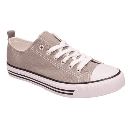EpicStep Kids Sneakers Tie up Slip on Canvas Shoes with Laces- Comfortable Cap Toe Shoes for Children - Girls Boys (1 Kids, Grey)
