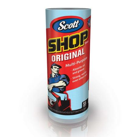 Scott Shop Towels, Roll, 10 2/5 x 11, Blue, 55/Roll, 12 Rolls/Carton