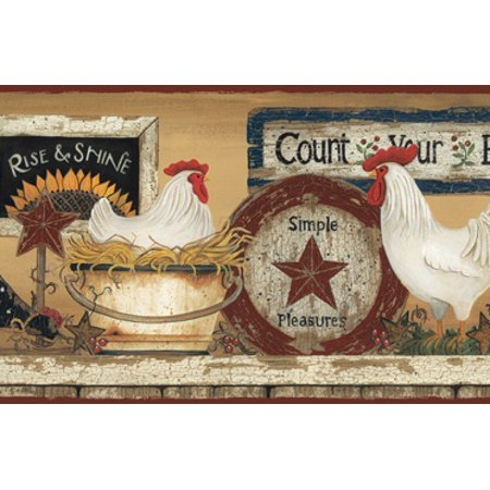 878375 Hen And Rooster Wallpaper Border