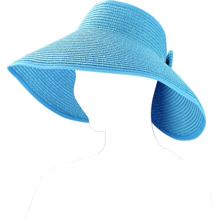 Fashion Sun Visor (Fashion Women's and Girl's roll-up Summer Bow Tie Straw Visor Sun)